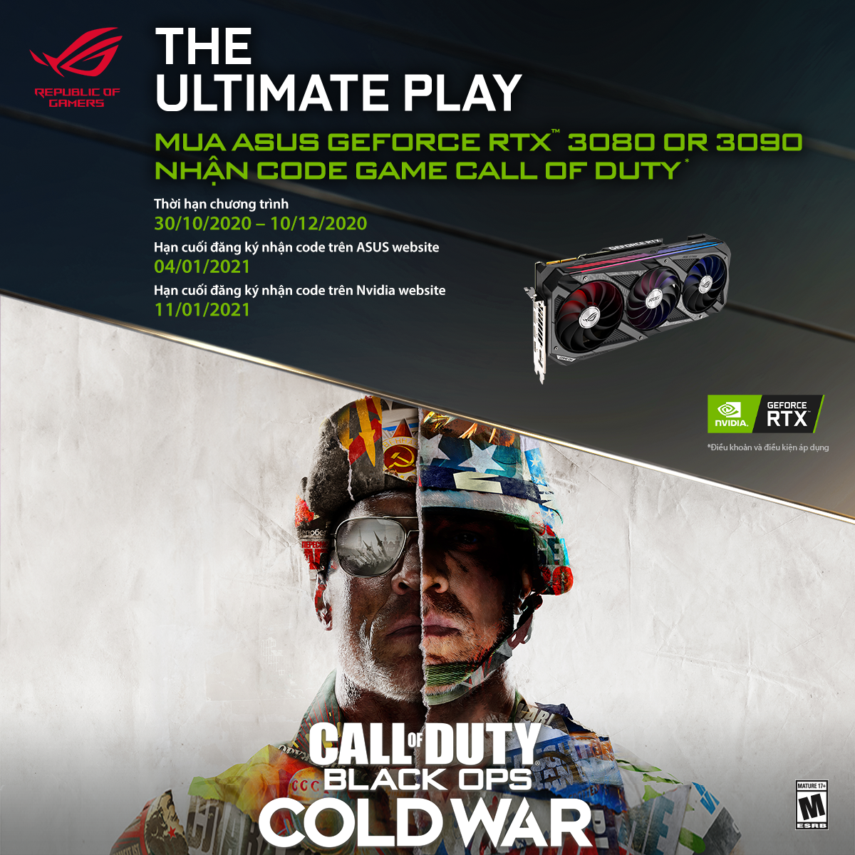 CTKM Mua Card Đồ Họa ASUS RTX3090/ 3080 Series Nhận Ngay Code Game Call Of Duty: Black Ops Cold War