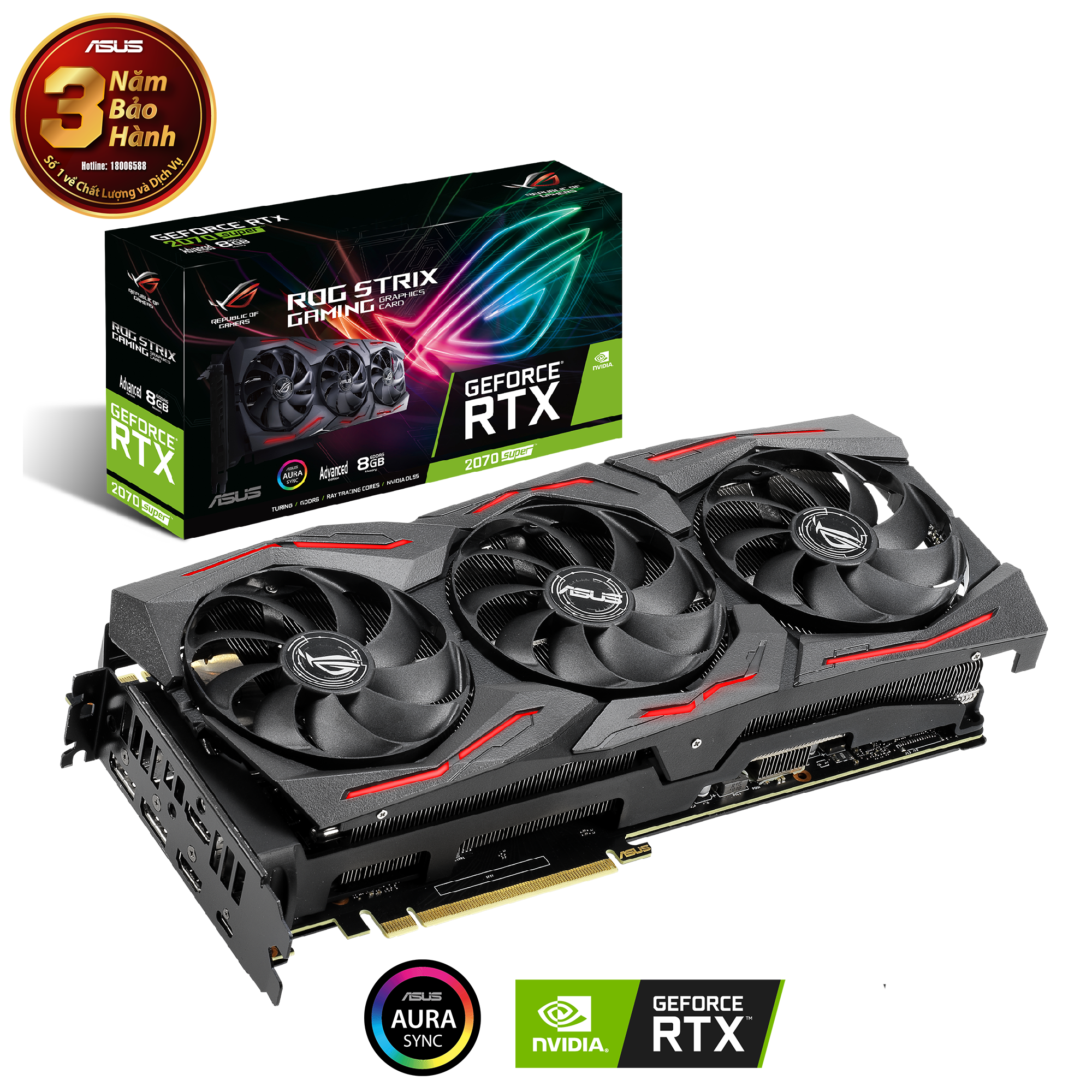 VGA ASUS ROG Strix  RTX 2070 SUPER 8GB GDDR6 (ROG-STRIX-RTX2070S-A8G-GAMING)
